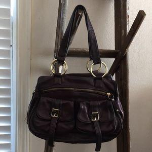 Bulga leather purse handbag brown gold hardware